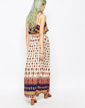 photo Boho Panel Print Maxi Dress by Hazel, color Coral - Image 2