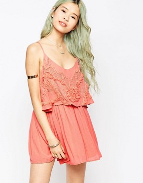 photo Embroidered Overlay Cami Dress by Hazel, color Pink - Image 1