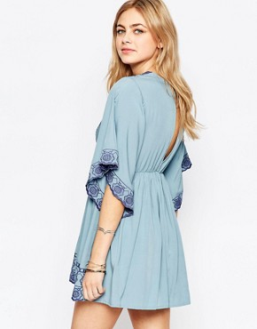 photo Embroidered V-Neck Dress by Hazel, color Denim Blue - Image 2