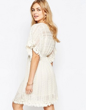 photo Lace Flutter Sleeve Dress by Hazel, color Beige - Image 2