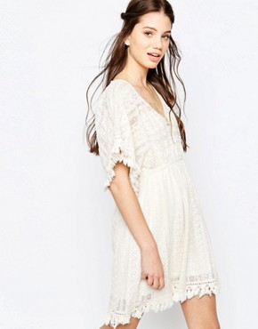 photo Lace Panel A-Line Dress by Hazel, color Natural - Image 1