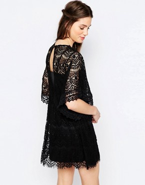 photo Lace Plunge Skater Dress by Hazel, color Black - Image 2