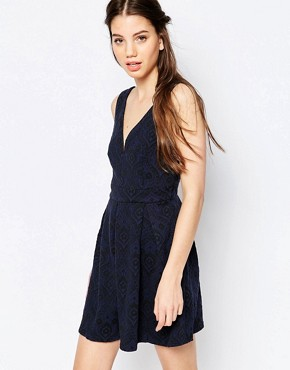 photo Lace Skater Dress by Hazel, color Blue - Image 1