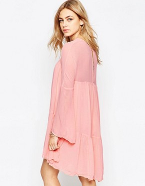 photo Panelled Babydoll Dress by Hazel, color Blush Pink - Image 2