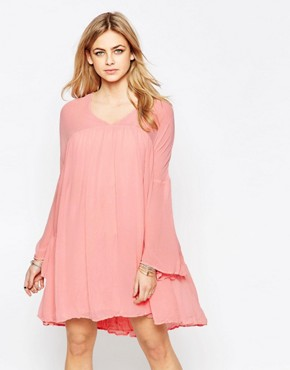 photo Panelled Babydoll Dress by Hazel, color Blush Pink - Image 1