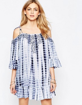 photo Tie Dye Cold Shoulder Dress by Hazel, color Blue - Image 1