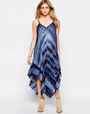 photo Tie Dye Hanky Hem Maxi Dress by Hazel, color Navy - Image 1