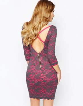 photo Indigo Lace Bodycon Dress by Hedonia, color Pink - Image 2