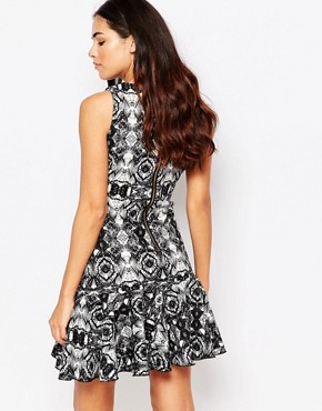 photo Salter Printed Dress with Flared Hem by Hedonia, color Black - Image 2