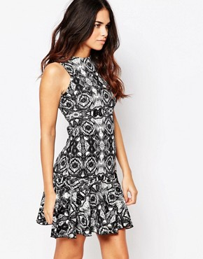photo Salter Printed Dress with Flared Hem by Hedonia, color Black - Image 1