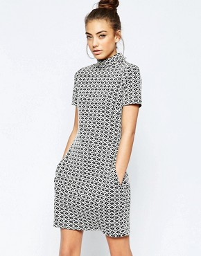 photo Ziggy High Neck Shift Dress in Geo Jacquard by Hedonia, color White - Image 1