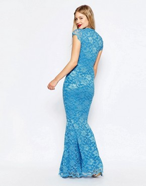 photo Fishtail Lace Maxi Dress by Honor Gold, color Blue - Image 2