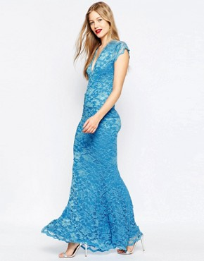photo Fishtail Lace Maxi Dress by Honor Gold, color Blue - Image 1