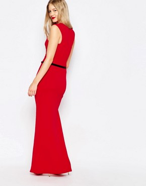 photo High Neck Belted Maxi Dress with Side Split by Honor Gold, color Red - Image 2