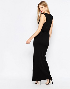 photo High Neck Belted Maxi Dress with Side Split by Honor Gold, color Black - Image 2