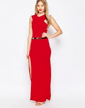 photo High Neck Belted Maxi Dress with Side Split by Honor Gold, color Red - Image 1