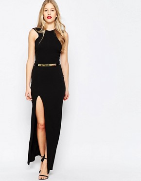 photo High Neck Belted Maxi Dress with Side Split by Honor Gold, color Black - Image 1