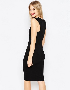 photo High Neck Midi Pencil Dress by Honor Gold, color Black - Image 2