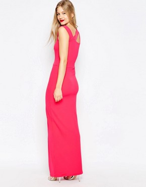 photo Maxi Dress with Cut Out Detail and Side Split by Honor Gold, color Pink - Image 2