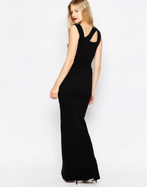 photo Maxi Dress with Cut Out Detail and Side Split by Honor Gold, color Black - Image 2