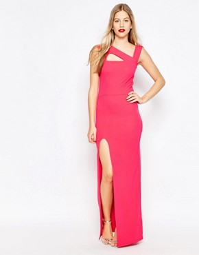 photo Maxi Dress with Cut Out Detail and Side Split by Honor Gold, color Pink - Image 1