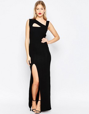 photo Maxi Dress with Cut Out Detail and Side Split by Honor Gold, color Black - Image 1