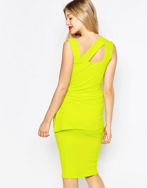 photo Midi Pencil Dress with Strappy Detail by Honor Gold, color Green Lime - Image 2