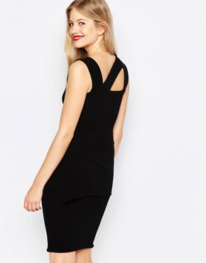 photo Midi Pencil Dress with Strappy Detail by Honor Gold, color Black - Image 2