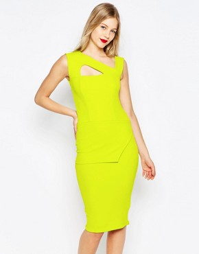photo Midi Pencil Dress with Strappy Detail by Honor Gold, color Green Lime - Image 1