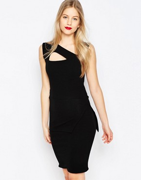 photo Midi Pencil Dress with Strappy Detail by Honor Gold, color Black - Image 1