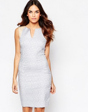 photo Kirsty Jacquard Plunge Dress with Faux Leather Trim by Hybrid, color Baby Blue - Image 1