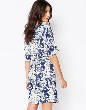 photo Abstract Print Skater Dress by Ichi, color Blue - Image 2