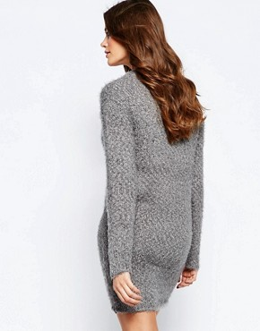 photo Jumper Dress with Back Lace Insert by Ichi, color Steel Grey - Image 2