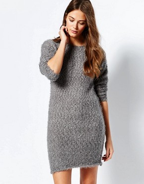 photo Jumper Dress with Back Lace Insert by Ichi, color Steel Grey - Image 1