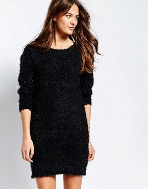 photo Jumper Dress with Back Lace Insert by Ichi, color Black - Image 1