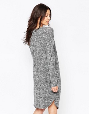 photo Long Sleeve Jersey Dress with Drape Neck by Ichi, color Black - Image 2