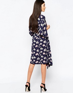 photo Printed Midi Shirt Dress by Ichi, color Ombre Blue - Image 2