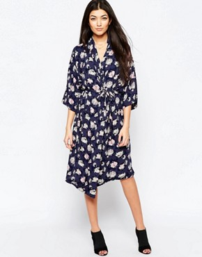 photo Printed Midi Shirt Dress by Ichi, color Ombre Blue - Image 1