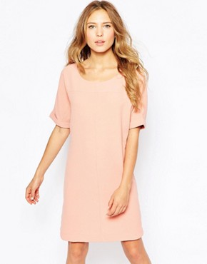 photo Short Sleeve Shift Dress by Ichi, color Cameo Brown - Image 1