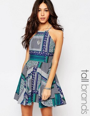 photo Flippy Dress with Zip Back by Influence Tall, color Multi - Image 1