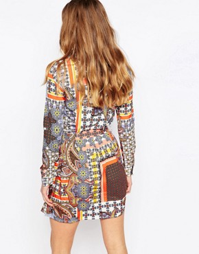 photo Shirt Dress In Paisley Patchwork Print by Influence Tall, color Multi - Image 2