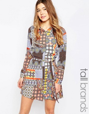 photo Shirt Dress In Paisley Patchwork Print by Influence Tall, color Multi - Image 1