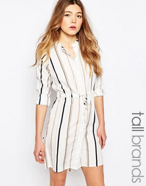 photo Striped Shirt Dress by Influence Tall, color Grey - Image 1