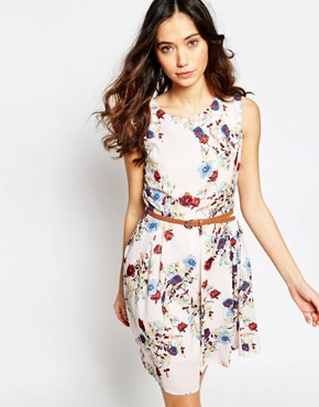 photo Belted Dress in Rose Print by Iska, color Cream - Image 1