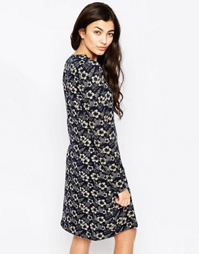 photo Floral Long Sleeve Tunic Dress by Iska, color Navy - Image 2