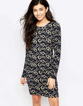 photo Floral Long Sleeve Tunic Dress by Iska, color Navy - Image 1