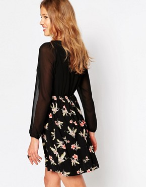 photo Floral Print Dress with Long Sleeves by Iska, color Black - Image 2