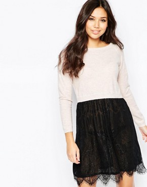 photo Lace and Knit Dress by Iska, color Pink - Image 1