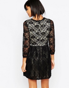 photo Long Sleeved Lace Dress by Iska, color Black - Image 2