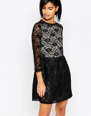 photo Long Sleeved Lace Dress by Iska, color Black - Image 1
